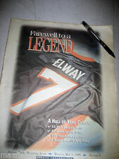 JOHN ELWAY DENVER BRONCO'S FAREWELL TO A LEGEND Rocky Mountain News May 3, 1999