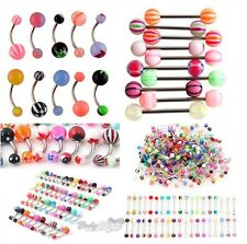 50 Pieces Mixed Lot Belly Bars Navel Rings Tongue Bars-Assortment of colours 14G