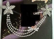 CRYSTAL DIAMANTE DOUBLE FLOWER HAIR CLIP BRIDAL /HIJAAB PIN  d2