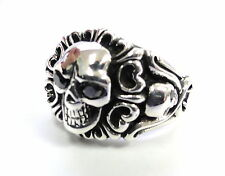 14K White Gold Men's  Black Diamond Skull Ring