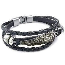 MENDINO Men's Alloy Leather Bracelet Braided Woven Angel Wing Feather Clasp Punk
