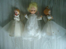 3 Vintage Angels Christmas tree toppers Mesh wings 2 cloth 1 rubber face TLC