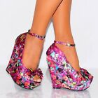 LADIES FUCHSIA PINK MULTI SATIN BOW PEEP TOE ANKLE STRAP WEDGE HIGH HEELS 3-8