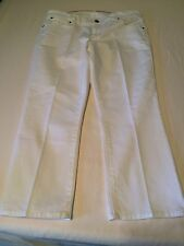 TALBOTS SIGNATURE STRAIGHT 8P/29 WHITE COTTON STRETCH MID-RISE capri JEANS PANTS