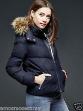NWT GAP Womens FAUX FUR Trim Chevron Wool PUFFER Jacket Coat Navy Blue XS $148