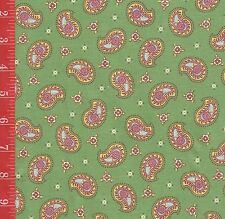 GREEN paisley cotton FABRIC A.E. Nathan Mosaic quilt & sew SOLD by the1/2 yard