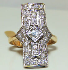 AN  ART DECO  STYLE  9CT GOLD ON SOLID SILVER  CLUSTER  RING SIZE Q