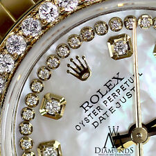 Rolex 26mm Datejust 2-Tone White MOP Mother of Pearl String Diamond Dial & Bezel