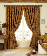 "LUXURIOUS RED GOLD TAPESTRY CHENILLE 90"" X 90"" PENCIL PLEAT THICK CURTAINS"