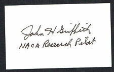 John Griffith (d. 2011) signed autograph auto 3x5 card NACA Research Pilot