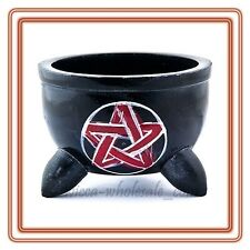 Pentagram Soapstone smudge Incense Burner Pot Bowl for Cones Resin Charcoal