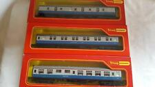 3 TRIANG HORNBY BR BLUE GREY MK1 COACHES INC SLEEPER BUFFET ETC MINT BOXED