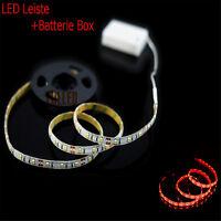 Fahrrad licht LED Strip Rot licht 1M + Lichtschalt + Batterie BOX Streifen B1R