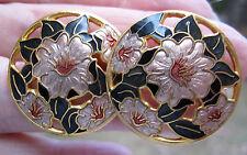 Cloisonne 1980s pensamiento Flores Aretes Pescado Y Esmalte de Corona 22ct G/P 2.5cm