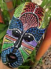 MINI MASK ABORIGINAL TRIBAL AFRICAN ART DECOR CARVED DOT HANGING HAND PAINT WOOD