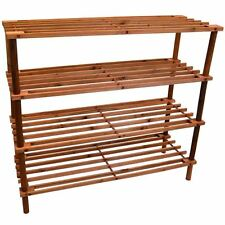 4 Tier Slated Shoe Rack Wooden Storage Stand Organiser By Home Discount 4 U BN