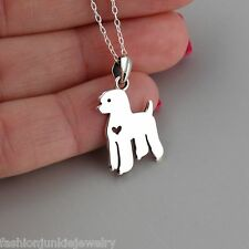 Poodle Necklace - 925 Sterling Silver - Poodle Pendant Puppy Dog NEW Pet Love