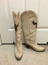 Vtg Zodiac Cowboy Suede Leather Boot Beige Western Boot Feather Eagle Inlay 7.5