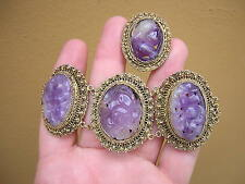 RARE ANTIQUE CHINESE STERLING SILVER FLOWER CARVED AMETHYST BRACELET + RING