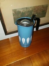 CATHRINEHOLM BUBBLE TOP PERCOLATOR COFFEE TEA  ENAMELWARE! AQUA/W/WHITE LOTUS