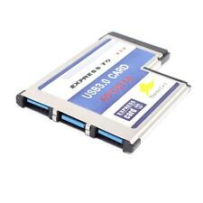 54mm Express Card ExpressCard to 3 Port USB 3.0 Adapter for Laptop Chip Useful