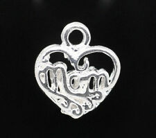 Silver Heart Mom Charms Pendants Mother Jewelry Craft Lot of 20