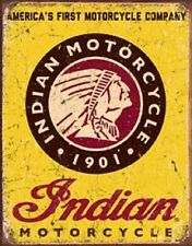 Indian Motorcycle America's First Novelty TIN SIGN Vintage Garage Shop Poster