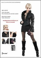 CC212 1/6 DOLLSFIGURE Female Fox fur collar leather jacket & Accessories