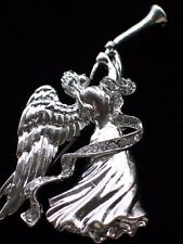 "SILVER TONE RHINESTONE PLAYING THE HORN FLUTE FLYING ANGEL PIN BROOCH 2 3/4"" LRG"