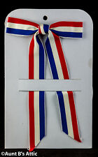 Tie Red White & Blue Clip On String Tie Gross Grain Ribbon Patriotic Themed Tie