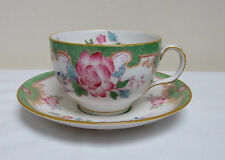 ROYAL DOULTON CHINA DUO TEA CUP & SAUCER GREEN PINK FLORAL 'TEMPLE' E2689 c1911