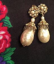 VINTAGE MIRIAM HASKELL SEED BAROQUE PEARLS CRYSTALS DANGLE DROP EARRINGS BRIDAL!