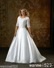 Wedding Dress Modest Half Sleeve Lace Ruched Vintage A Line Bridal Gown Handmade