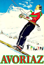 Art Ad Avoriaz Ski Skiing Winter Travel  Deco  Poster Print