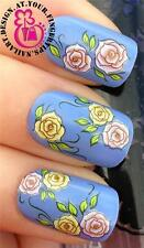NAIL ART WATER TRANSFER STICKERS DECALS SET PINK & YELLOW ROSES WITH LEAVES #184