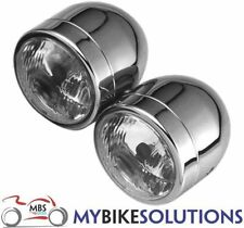 BIKEIT MOTORCYCLE HEADLIGHT DOMINATOR TWIN-ROUND CHROME SIDE MOUNTED DIP CENTRE