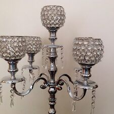 5 Arm Silver Crystal Globe Candelabra Wedding Centrepieces Candle Holders 80CM