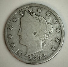 1886 Five Cents Liberty Head V Nickel 5 cent US United States Type Coin G