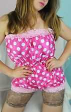 Vintage Style PINK silky soft SATIN Sissy dress up XL lingerie Teddy Romper