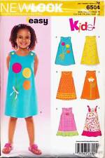 NEW LOOK SEWING PATTERN 6504 GIRLS SZ 3-8 EASY A-LINE DRESS, OR PINAFORE DRESS