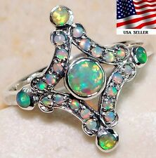 Australian Opal & Fire Opal 925 Solid Genuine Sterling Silver Art Deco Ring Sz 6
