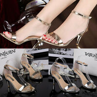 Womens Sexy High Heels Ankle Strap Peep Toe Stilettos Sandals Shoes Work Fashion