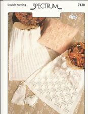 Spectrum Knitting Pattern #7130 Baby Pram Blankets & Cushion Cover -Pattern Only