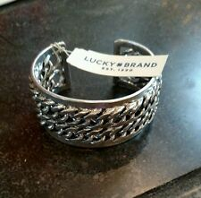 NWT AUTHENTIC Lucky Brand Silver-Tone Chain Cuff Bangle Bracelet RETAIL $45