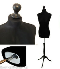BLACK Female Sewing & Dressmaking Dummy MANNEQUIN TAILORS Fashion Display Bust
