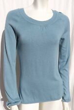 Camaieu Spain Blue Fine Knit Viscose Scoop Neck Sweater Top size S M
