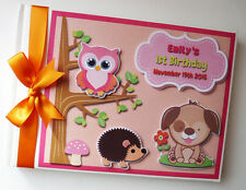 PERSONALISED WOODLAND ANIMALS BOY/GIRL /FIRST/1ST BIRTHDAY GUEST BOOK ANY DESIGN