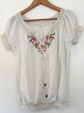 Vintage Boho 70s Gypsy Hippie Womens Top Cotton Size M 12 uk 1970s Floral