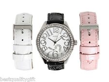 GUESS WHITE+PINK+BLACK CROC LTHR INTERCHANGABLE BAND+SILVER WATCH SET U95096L1