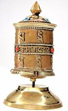 "5"" Tibetan PRAYER WHEEL Desk W/ Sacred Mantra Coral Copper Brass Nepal Handmade"